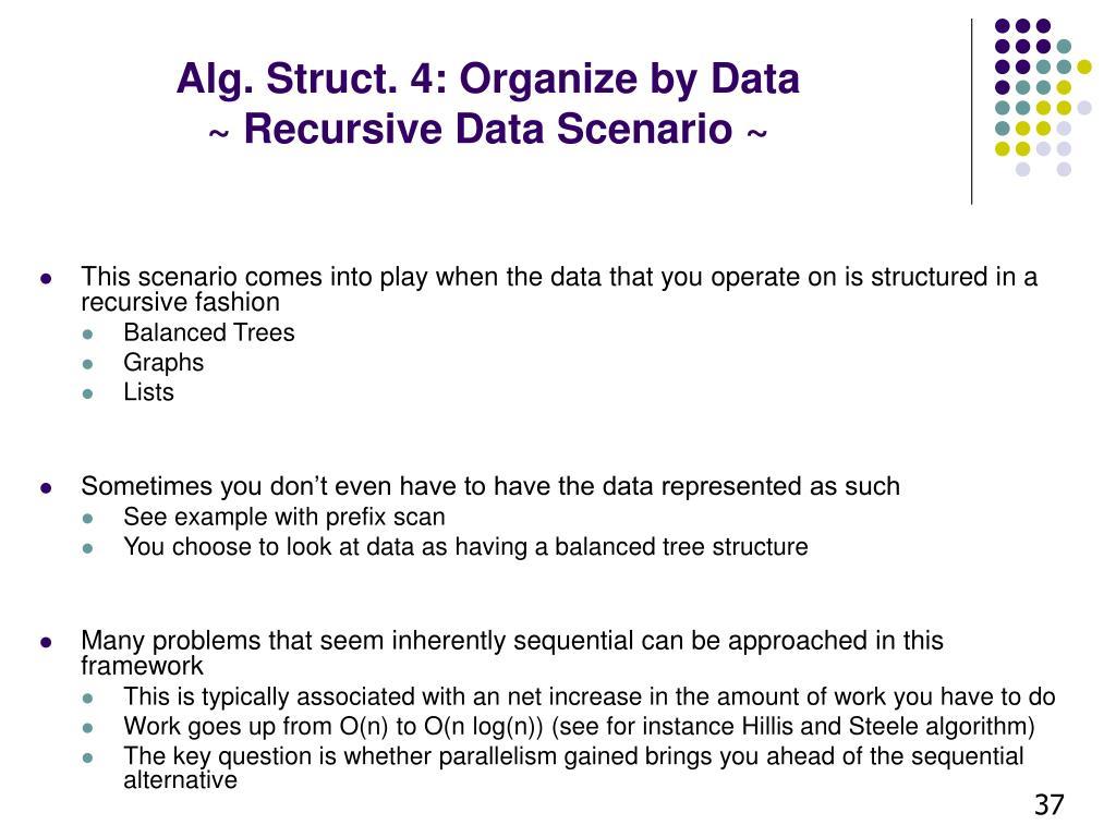 Alg. Struct. 4: Organize by Data