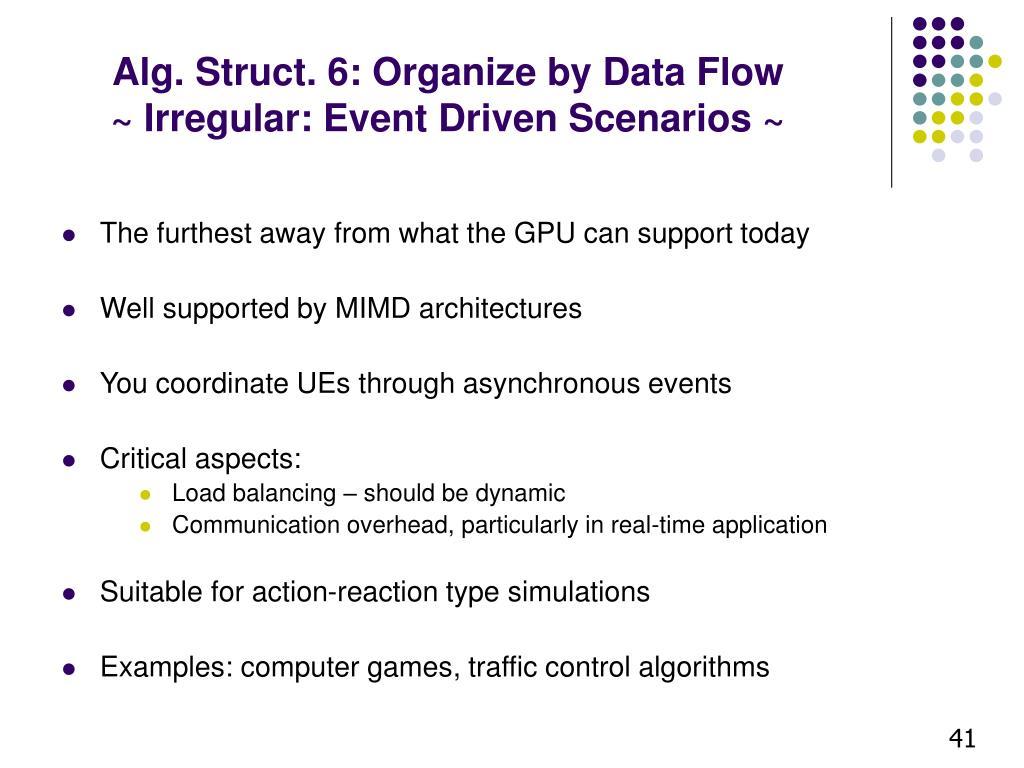 Alg. Struct. 6: Organize by Data Flow