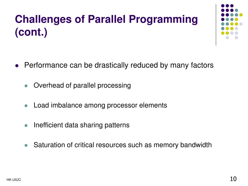 Challenges of Parallel Programming (cont.)