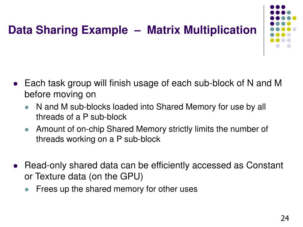 Data Sharing Example  –  Matrix Multiplication