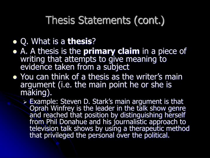 Thesis statements cont