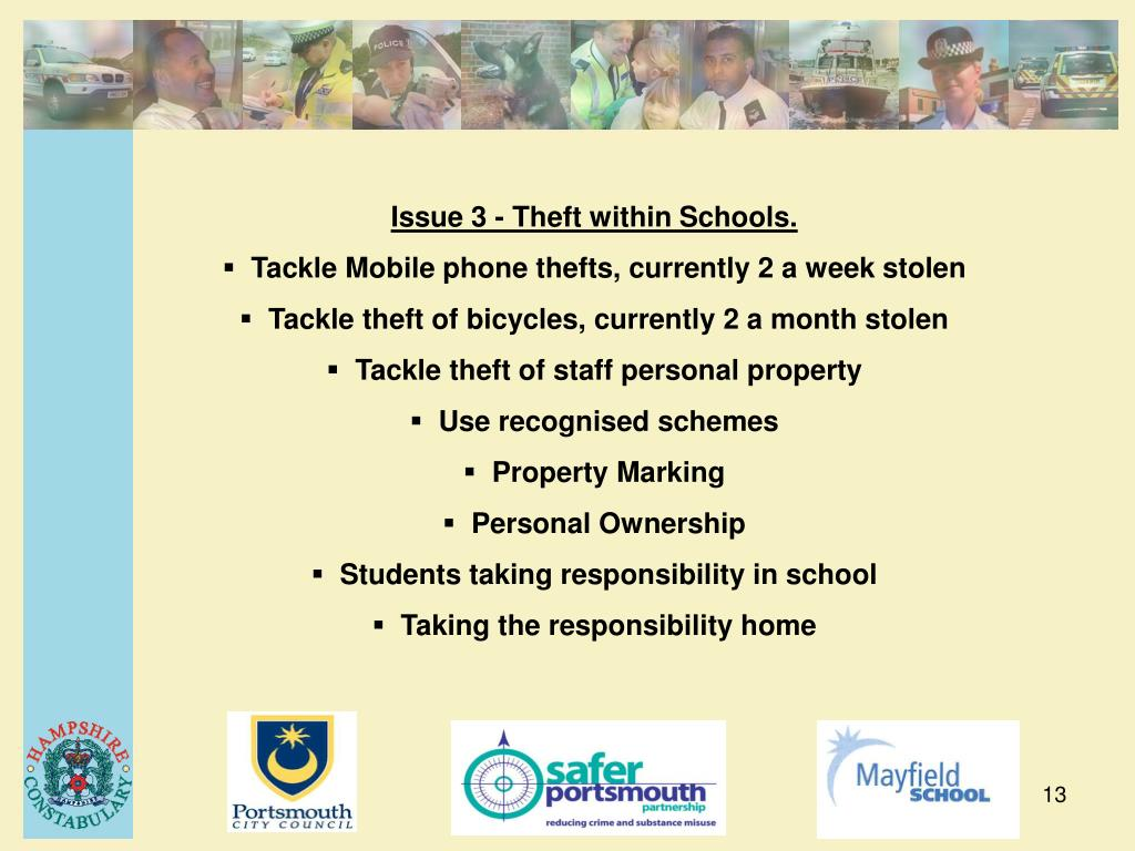Issue 3 - Theft within Schools.