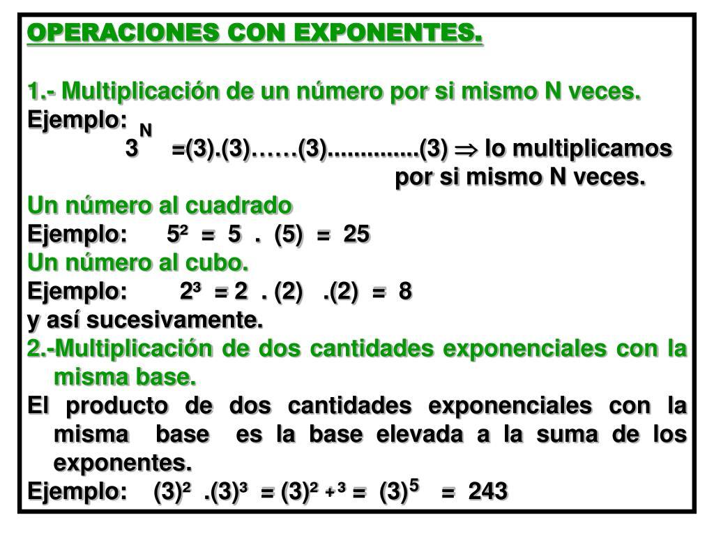 OPERACIONES CON EXPONENTES.