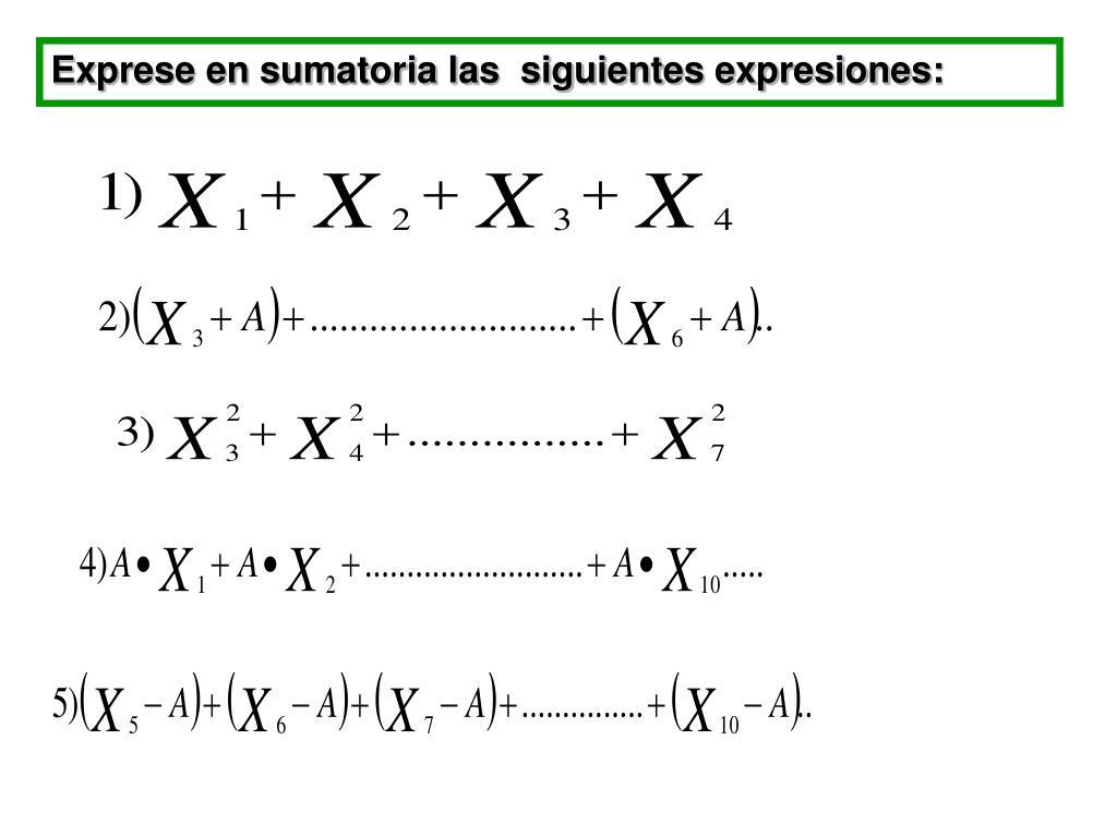 Exprese en sumatoria las  siguientes expresiones: