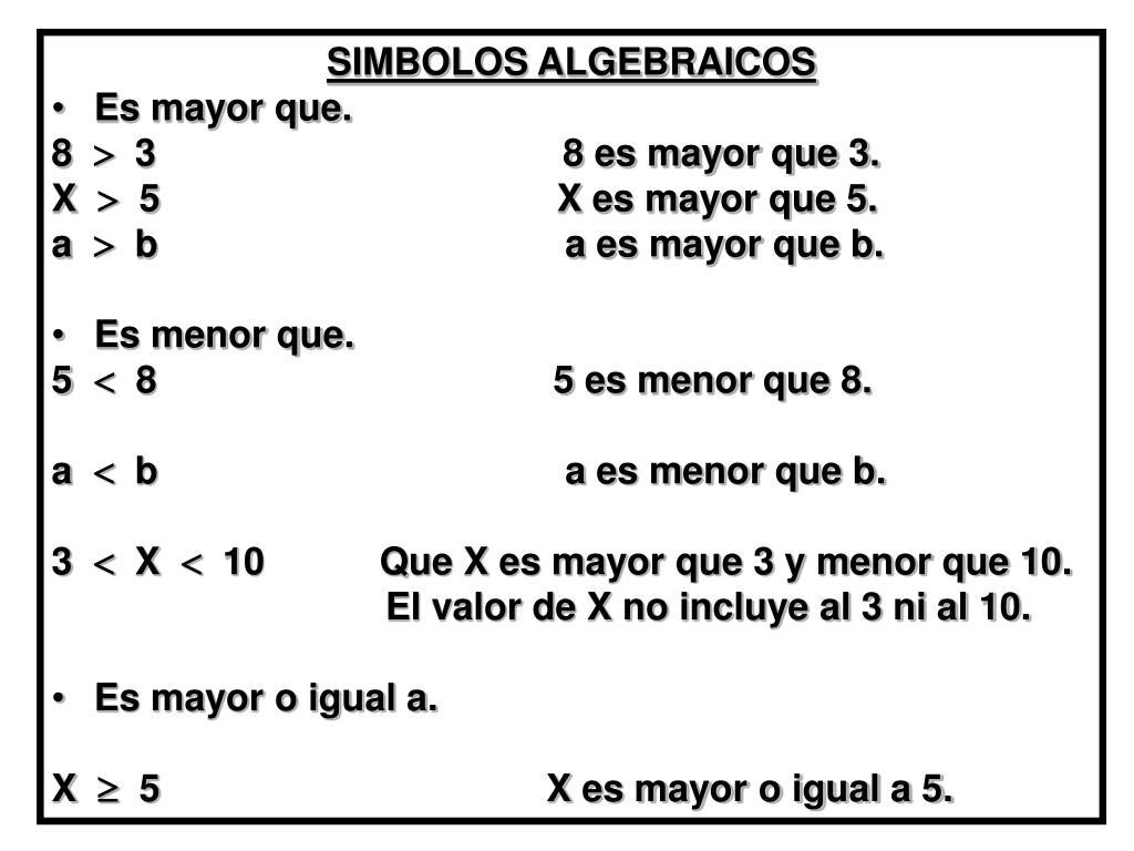 SIMBOLOS ALGEBRAICOS