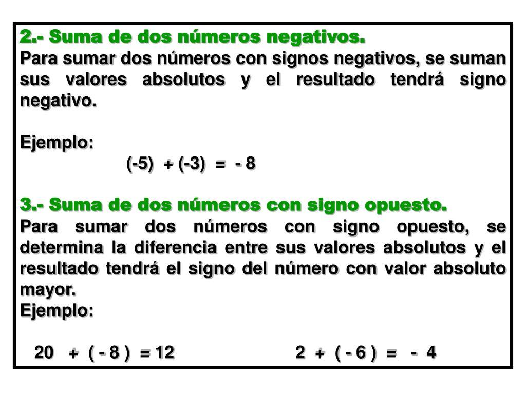 2.- Suma de dos números negativos.