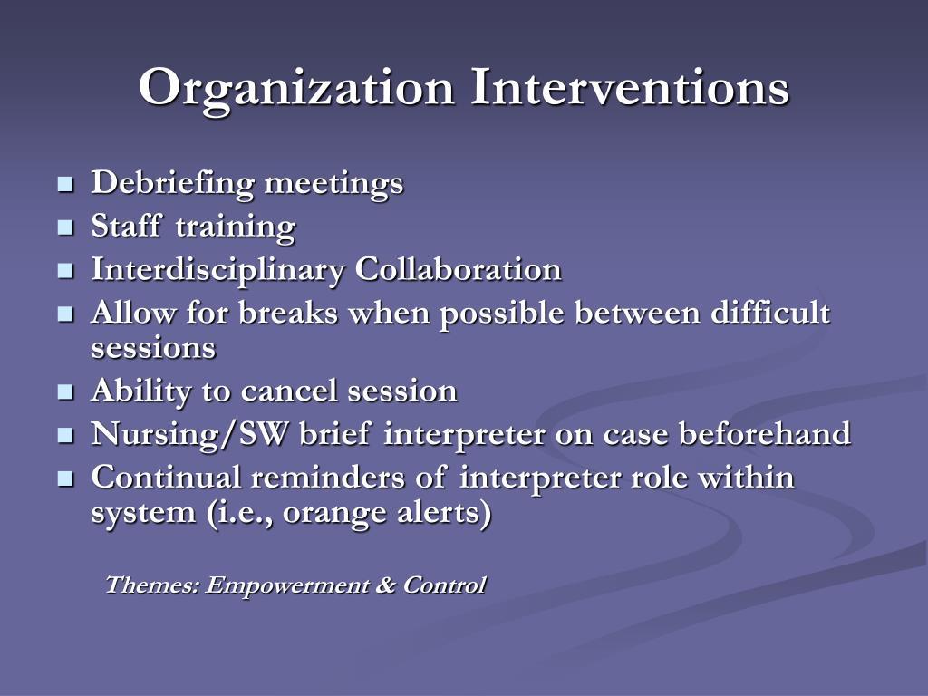 Organization Interventions