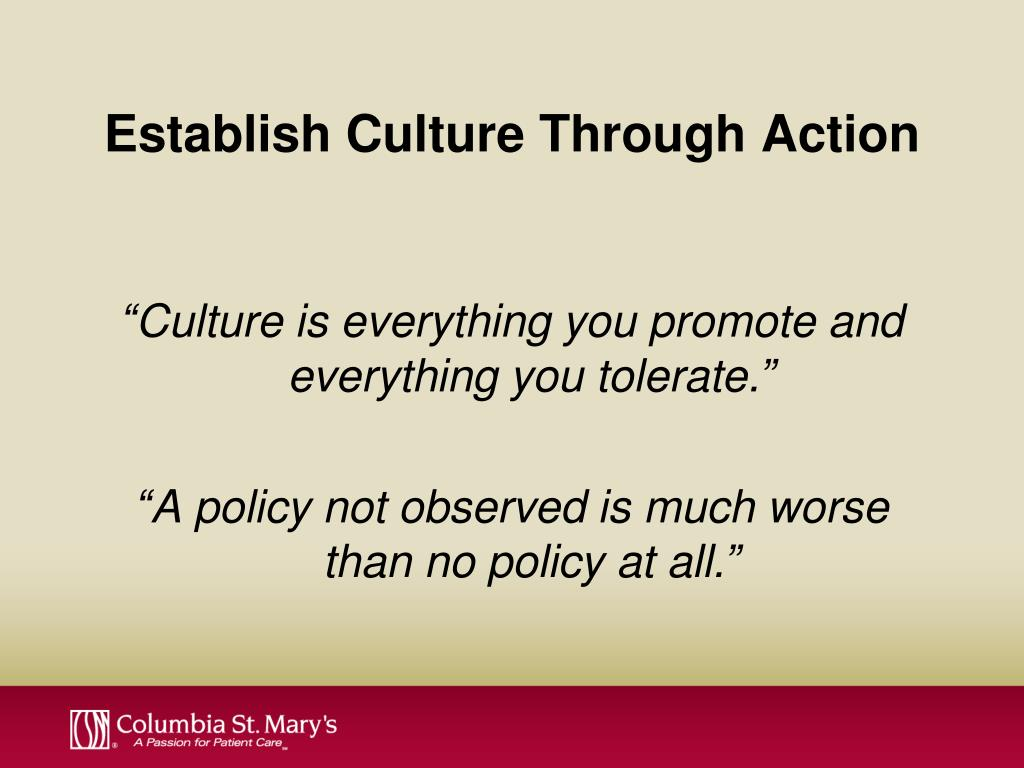 Establish Culture Through Action