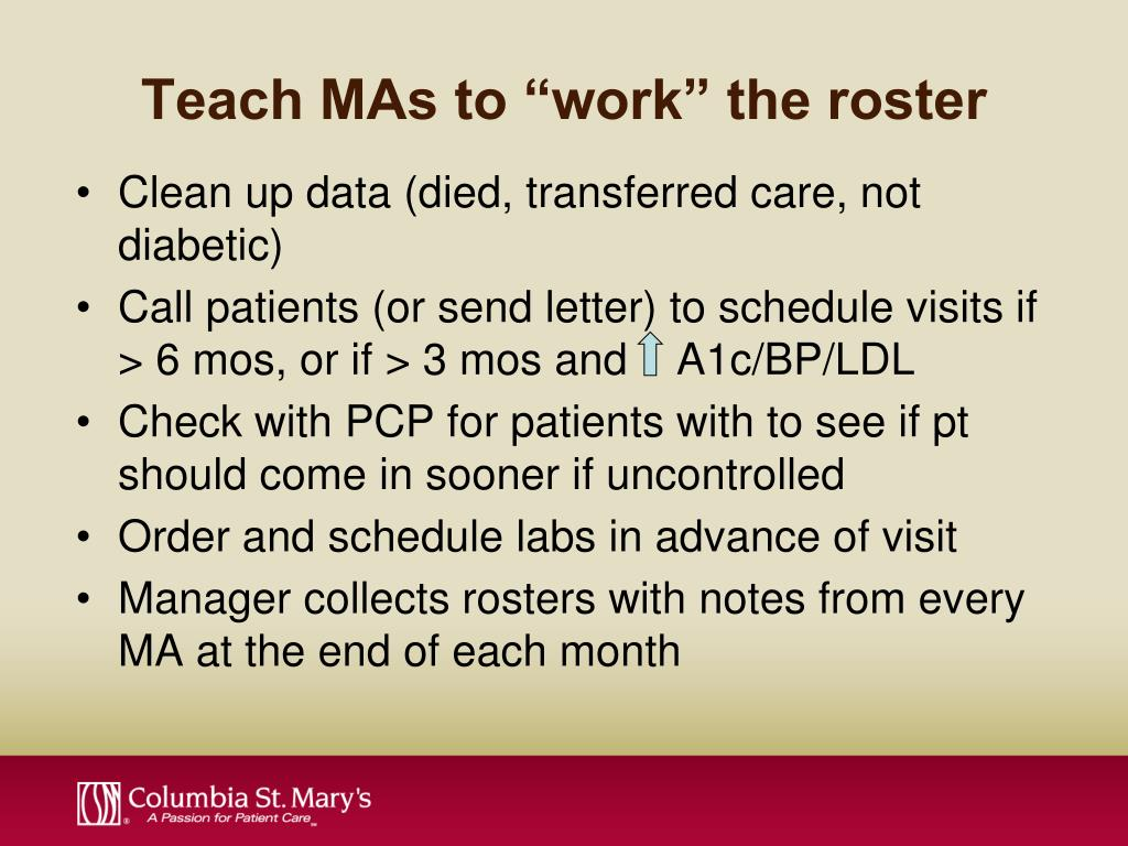 """Teach MAs to """"work"""" the roster"""