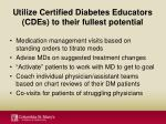 utilize certified diabetes educators cdes to their fullest potential