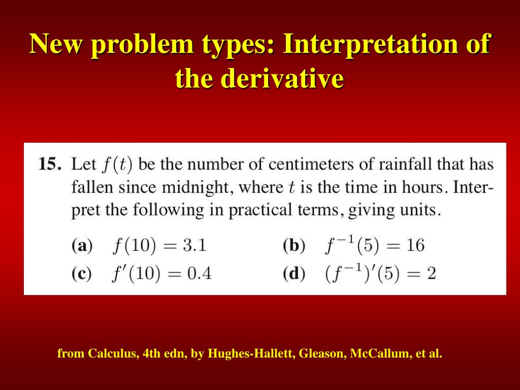 New problem types: Interpretation of the derivative