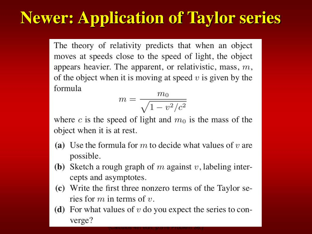 Newer: Application of Taylor series