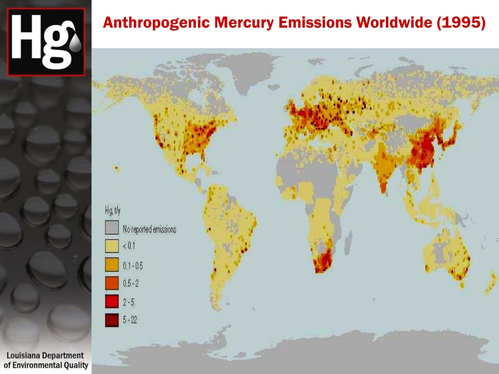 Anthropogenic Mercury Emissions Worldwide (1995)