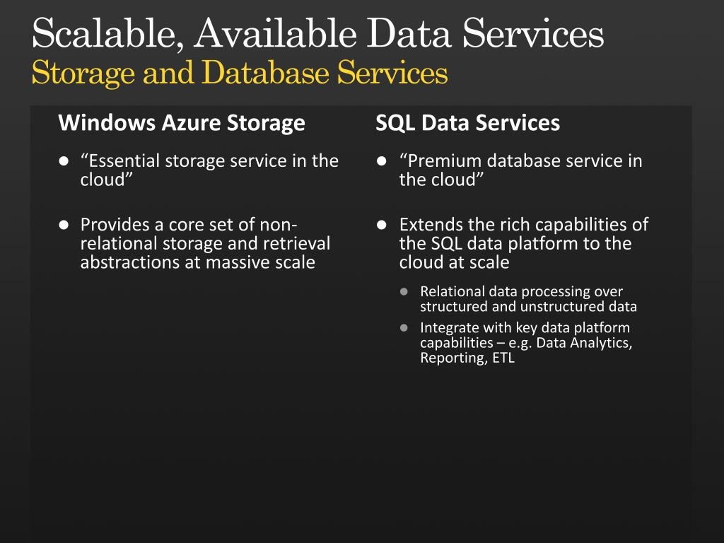 Scalable, Available Data Services