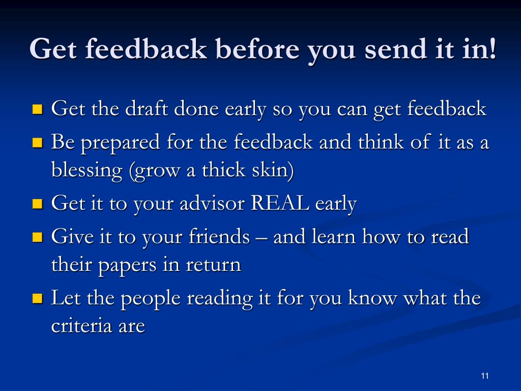 Get feedback before you send it in!