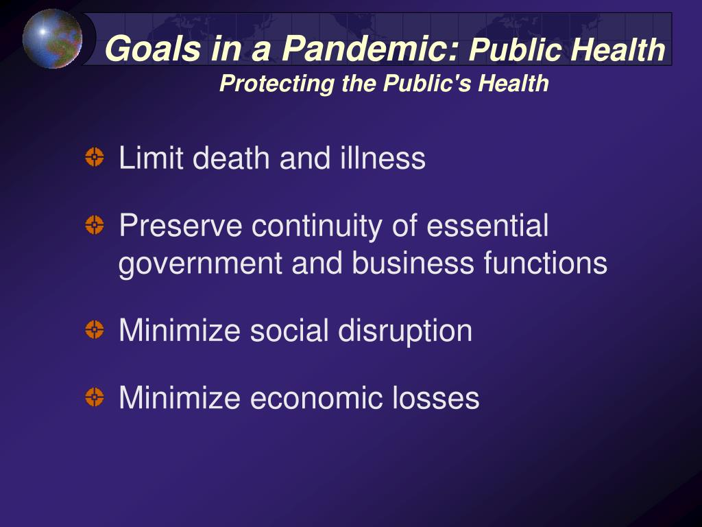 Goals in a Pandemic: