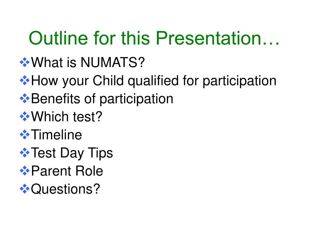 Outline for this Presentation…
