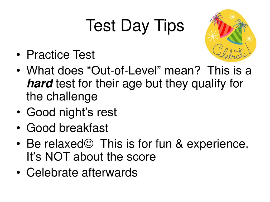 Test Day Tips