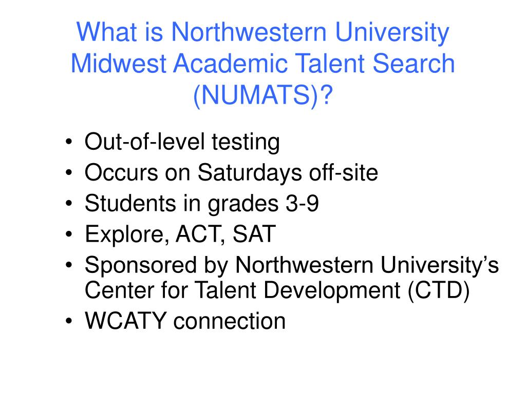 What is Northwestern University Midwest Academic Talent Search (NUMATS)?