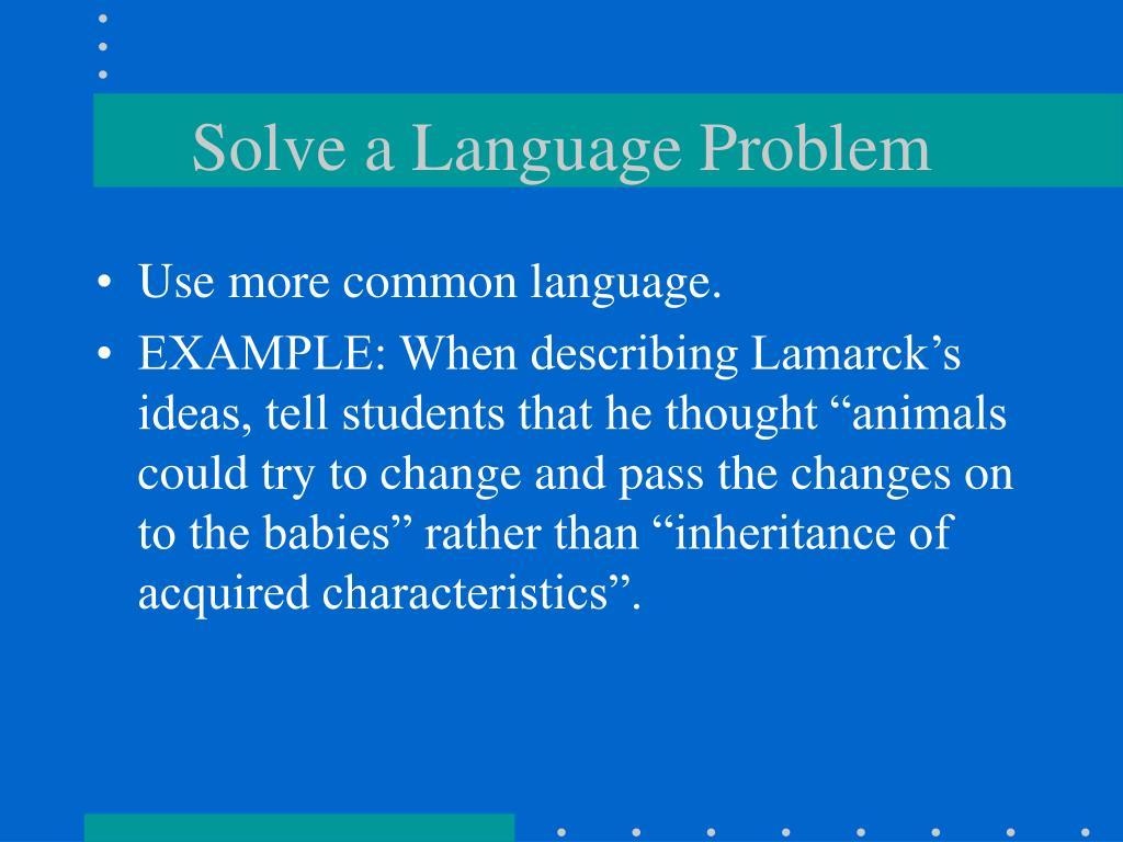 Solve a Language Problem
