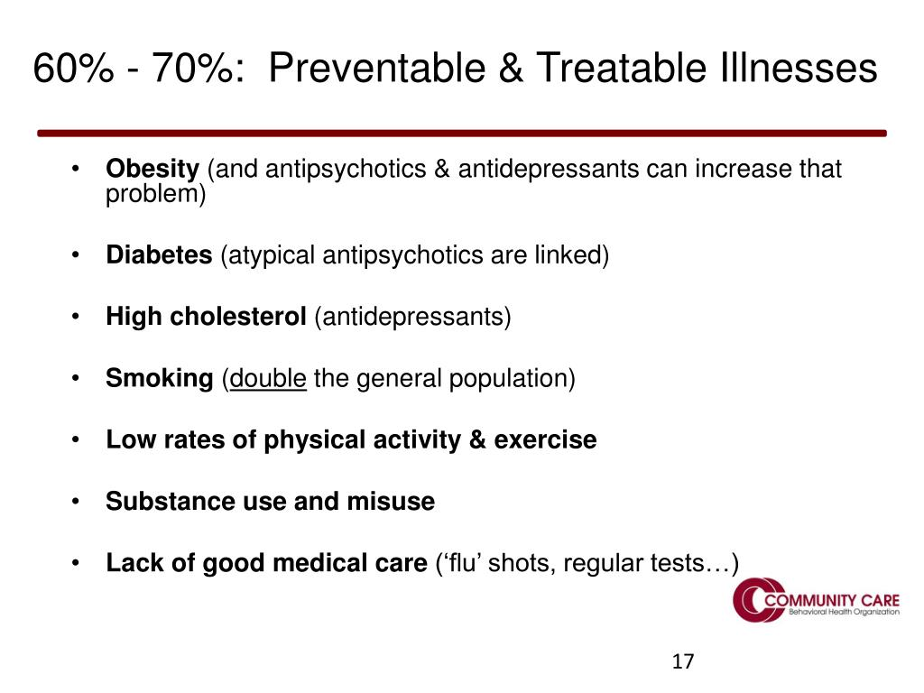 60% - 70%:  Preventable & Treatable Illnesses