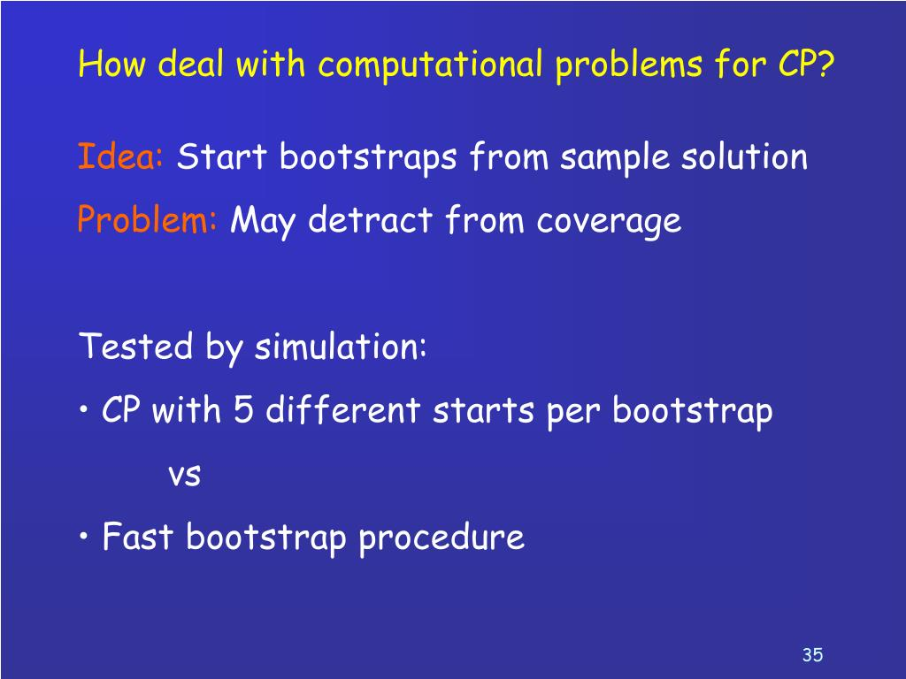 How deal with computational problems for CP?