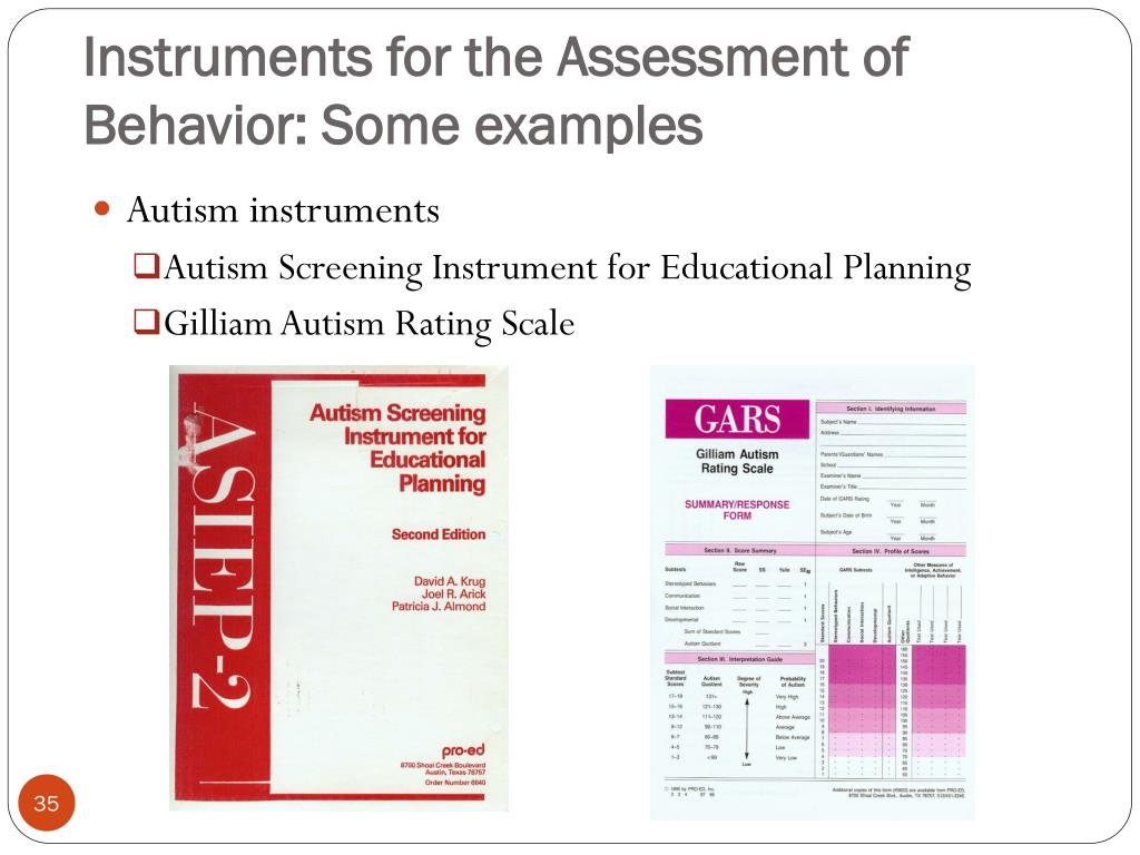 Instruments for the Assessment of Behavior: Some examples