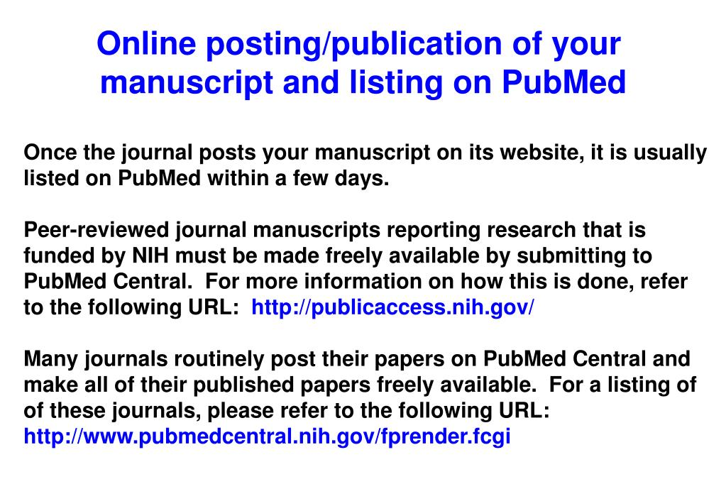Online posting/publication of your