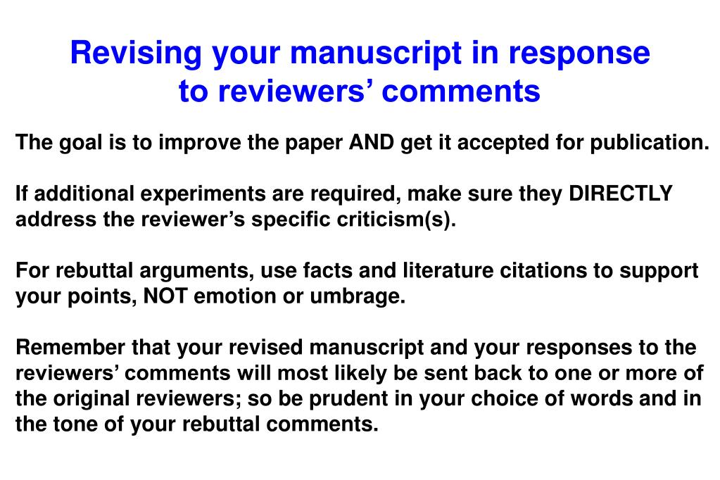 Revising your manuscript in response