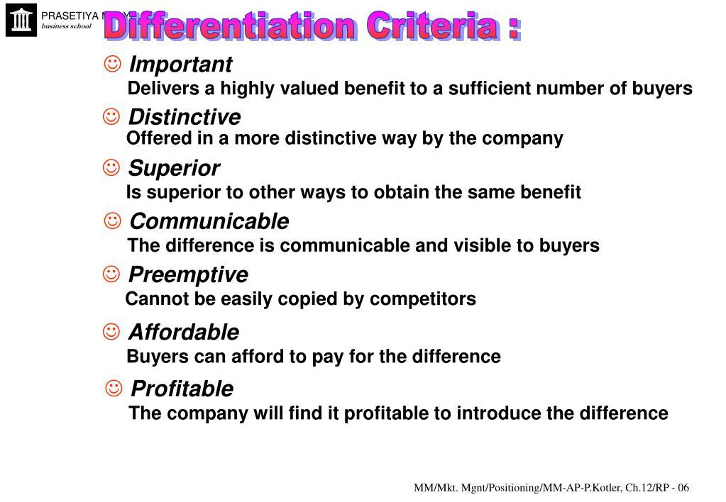 Differentiation Criteria :