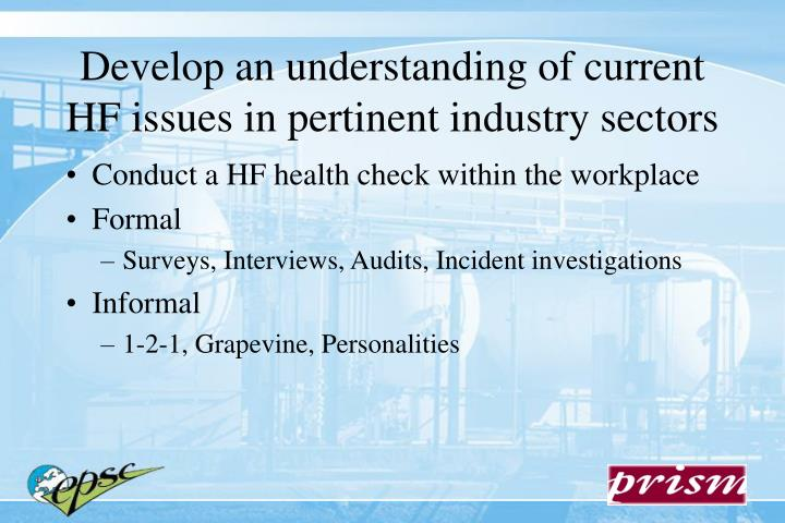 Develop an understanding of current HF issues in pertinent industry sectors
