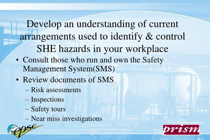 Develop an understanding of current arrangements used to identify & control SHE hazards in your workplace