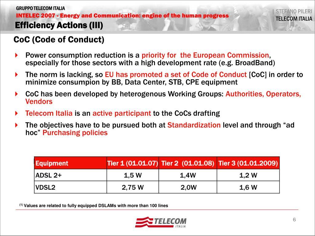 Efficiency Actions (III)