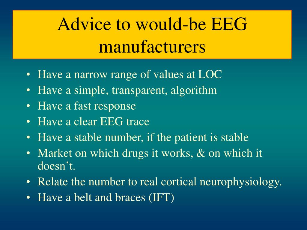 Advice to would-be EEG manufacturers