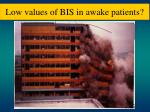 low values of bis in awake patients