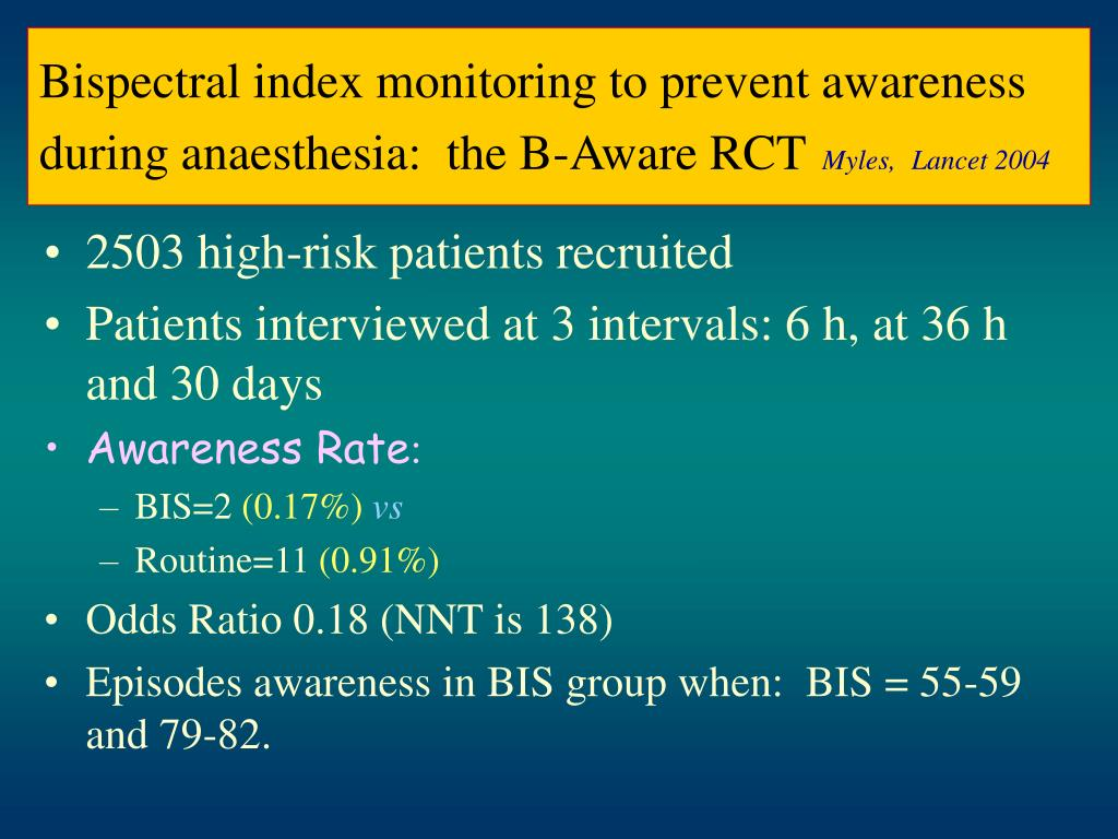 Bispectral index monitoring to prevent awareness during anaesthesia:  the B-Aware RCT