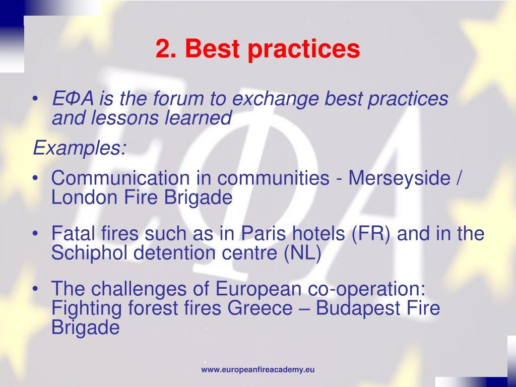 2. Best practices