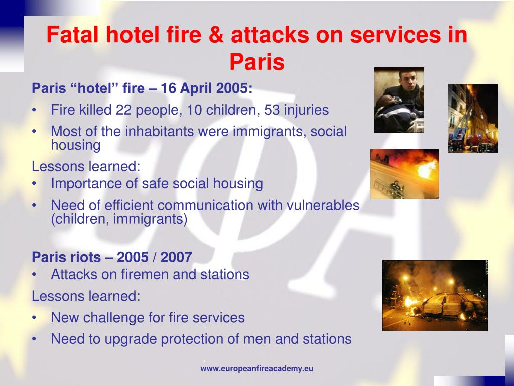 Fatal hotel fire & attacks on services in Paris