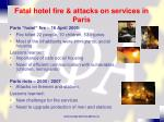 fatal hotel fire attacks on services in paris
