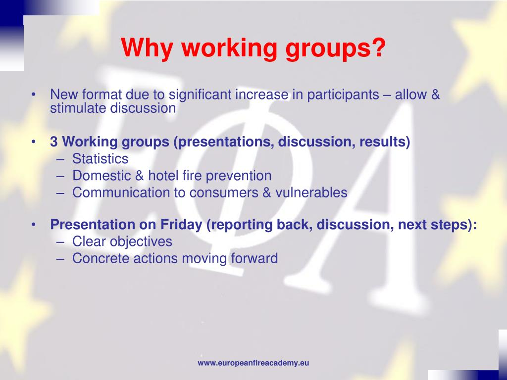 Why working groups?