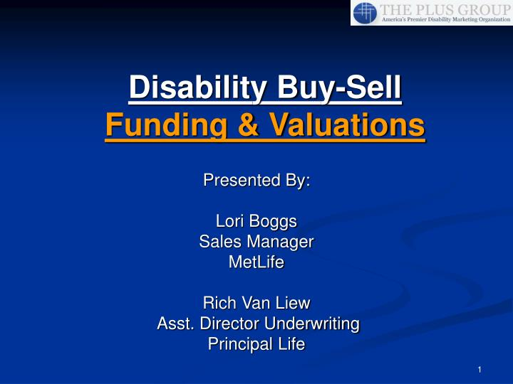 Disability buy sell funding valuations