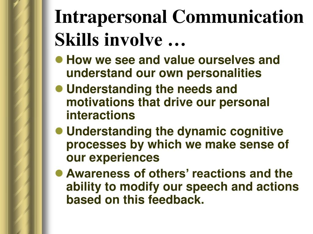 Intrapersonal Communication Skills involve …