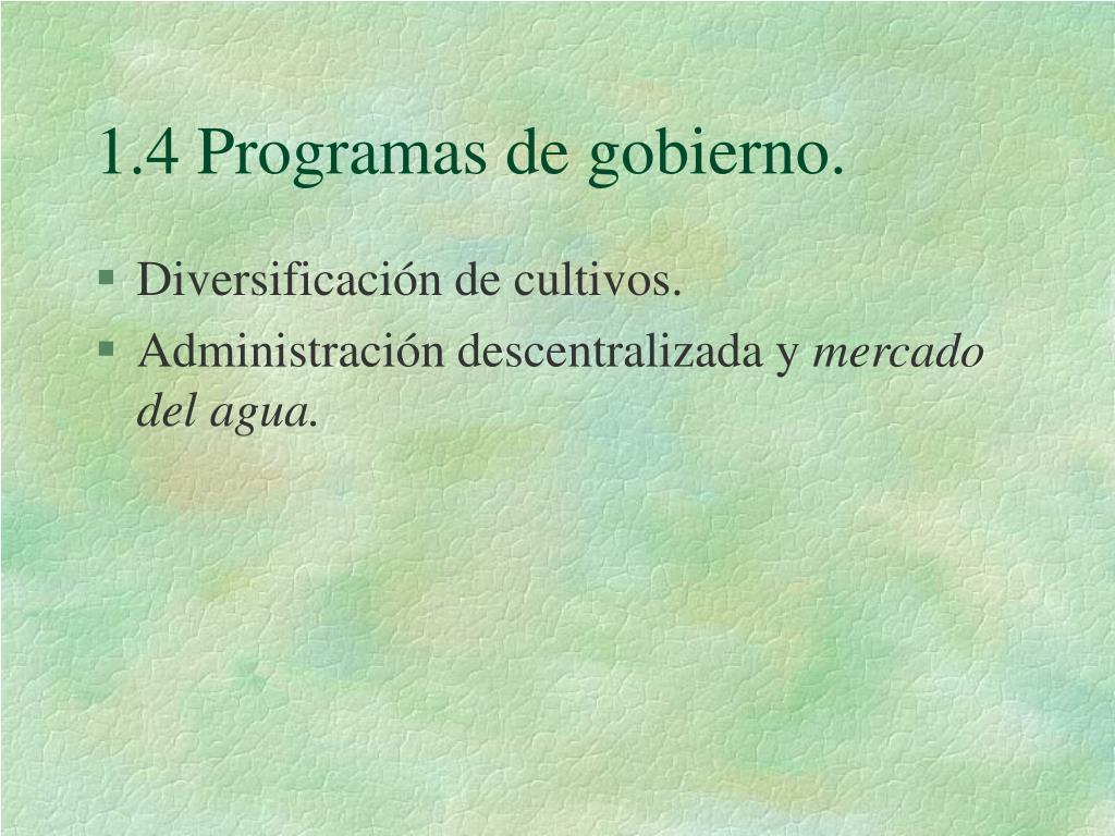 1.4 Programas de gobierno.