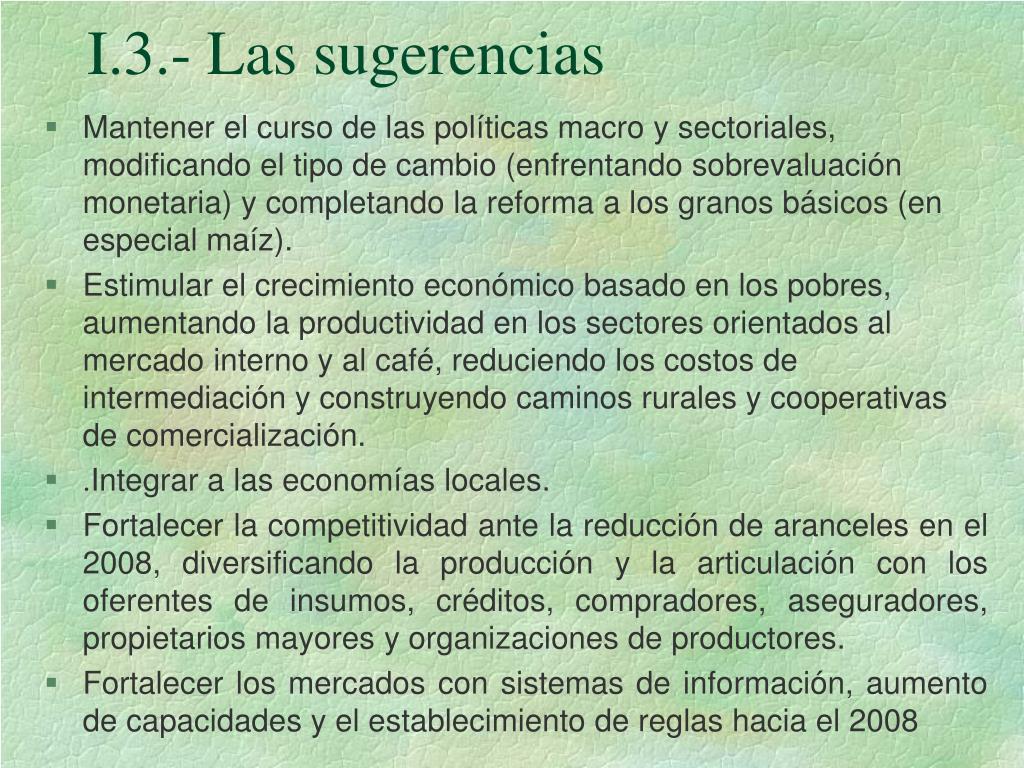 I.3.- Las sugerencias