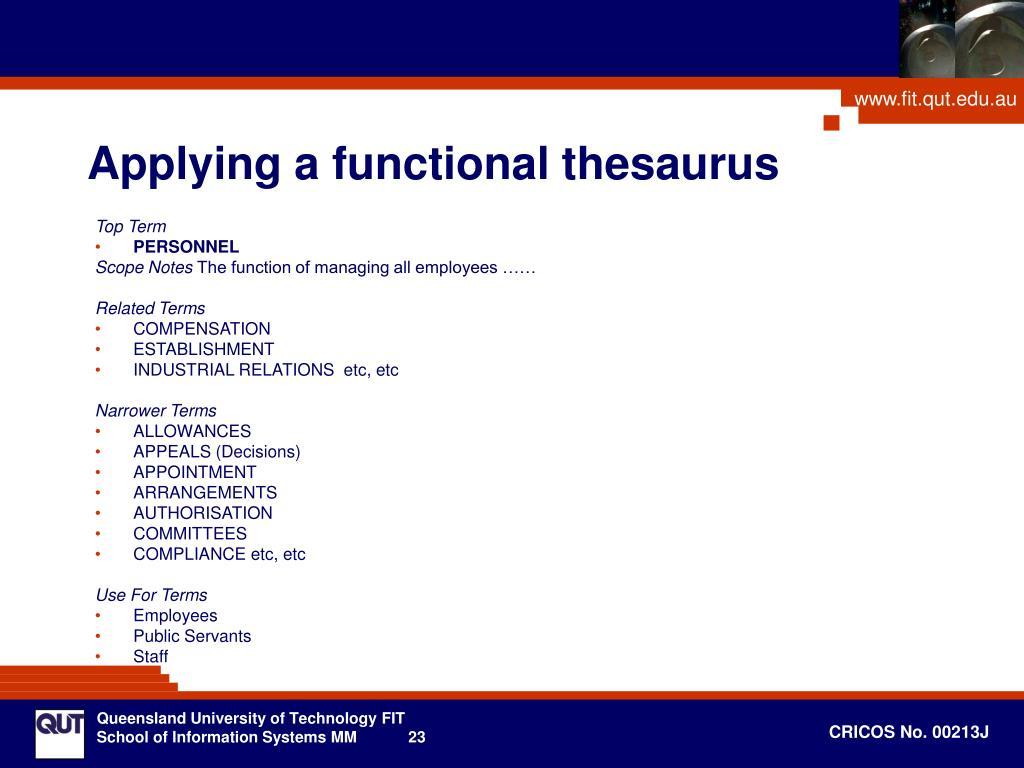 Applying a functional thesaurus