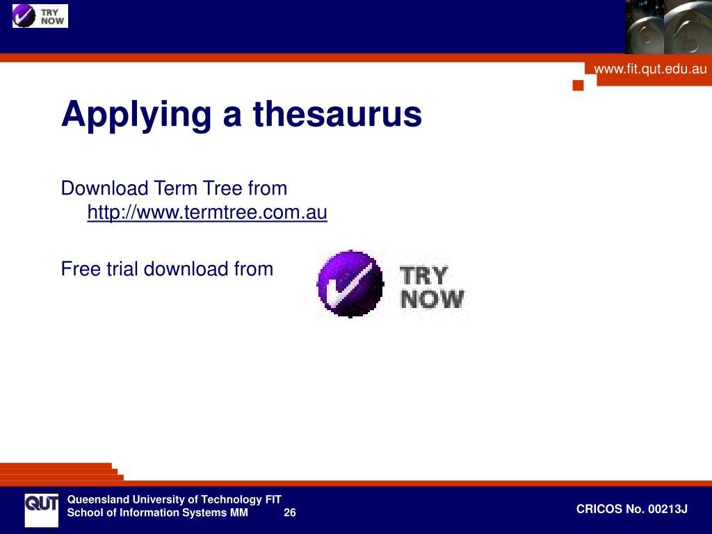 Applying a thesaurus