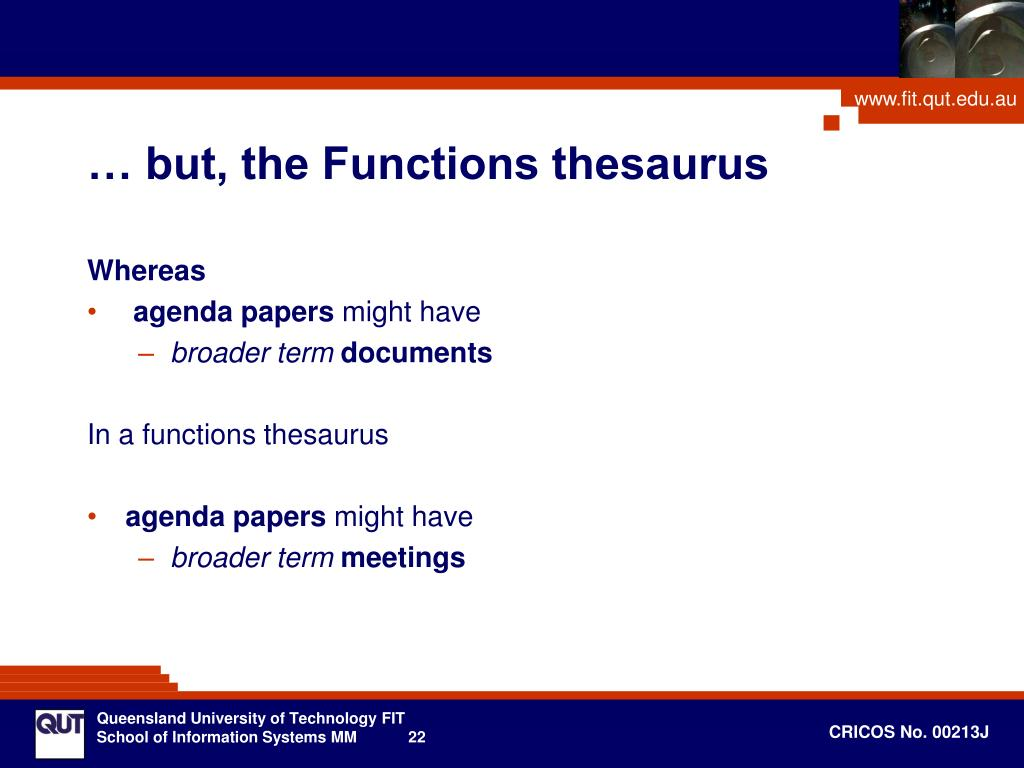 … but, the Functions thesaurus