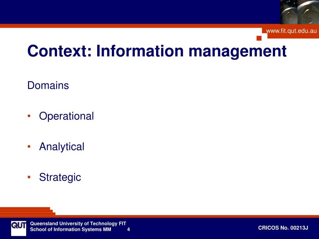 Context: Information management