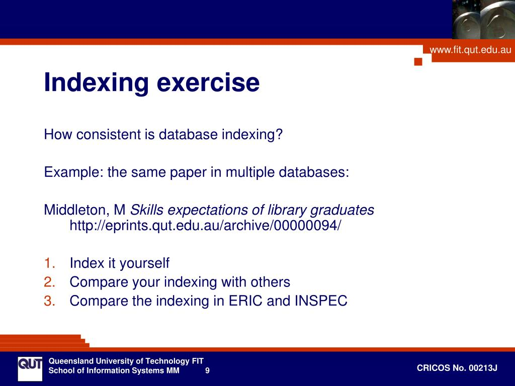 Indexing exercise