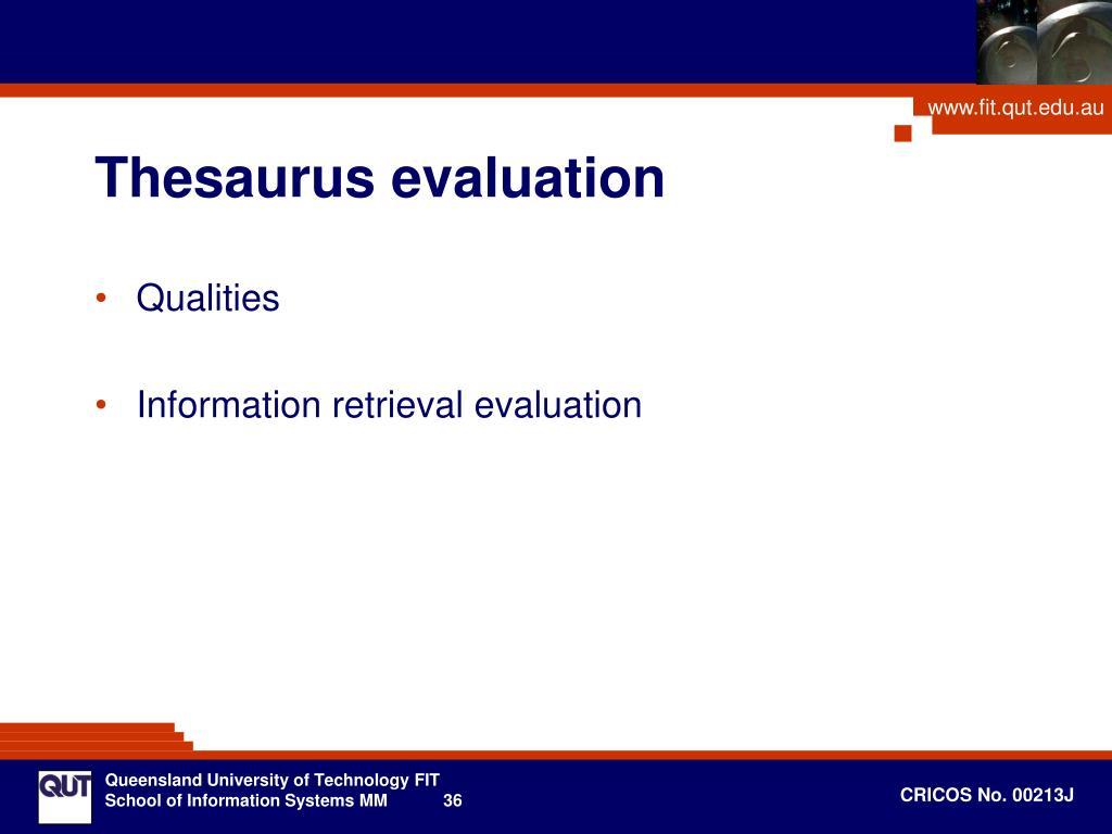 Thesaurus evaluation
